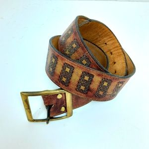 Vintage Hand Tooled Stained Leather Belt